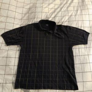Dockers Black and Thin Yellow Striped Polo
